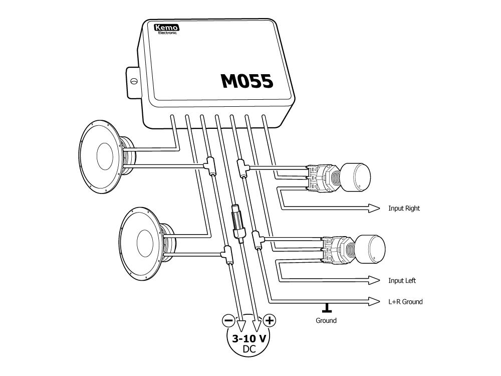 m055 stereo amplifier 3 w